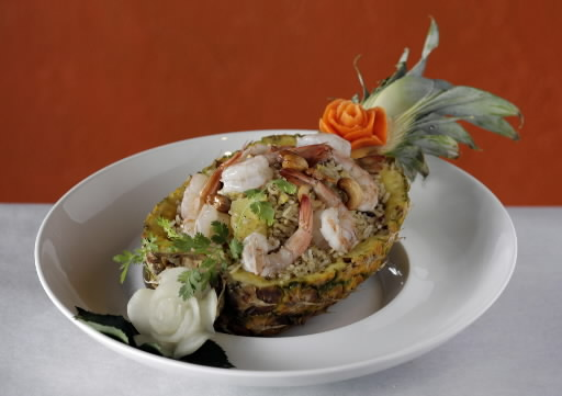 (Herald Tribune Staff Photo by Rod Millington)--Pineapple Fried Rice.--Drunken Poet Cafe at 1572 Main Street, in downtown Sarasota, features authentic Thai food using all natural ingredients, as well as sushi.