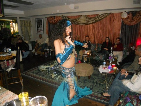 Belly-dancing shows delight the crowds on certain nights at Casablanca.